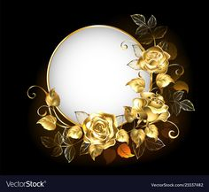 Round banner with gold roses Royalty Free Vector Image Angel Vector, Bow Vector, Best Background Images, Star Background, Free Vector Images, Vector Free, Feather Vector, Paint Vector, Wedding Frames