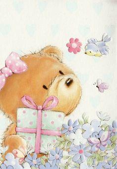 ** il n'est jamais trop tard, pour faire des cadeaux, bisous et bon après midi ** - Фотография My Teddy Bear, Cute Teddy Bears, Baby Girl Owl, Cute Animals Images, Blue Nose Friends, Cute Animal Illustration, Pintura Country, Love Bear, Tatty Teddy