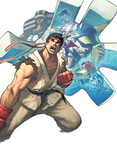View an image titled 'Box Art' in our Capcom Fighting Evolution art gallery featuring official character designs, concept art, and promo pictures. Ryu Street Fighter, Street Fighter Ii Turbo, Capcom Street Fighter, Super Street Fighter, Ryu And Chun Li, Goku, Character Art, Character Design, Fanart