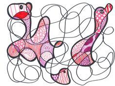Je ziet hier een tekening van allemaal ronde lijnen, de vakken die zijn ingekleurd vormen een dier.