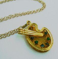 Artist's Palette Necklace  Vintage by RosebudsBeadery on Etsy