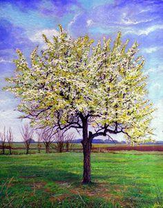 KÖRTEFA, TAVASSZAL Miniatura, MMXII Tempera, karton - 10 X 8 cm  PEAR TREE IN APRIL Miniatura, MMXII Tempera on carton - 10 X 8 cm