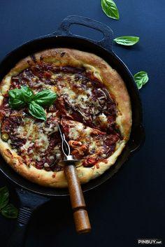Easy Deep Dish Pizza with Roasted Veggies (vegan) - PinBuy