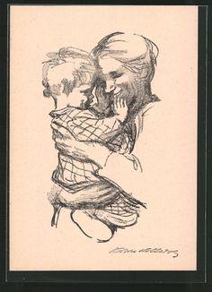 Künstler-AK Käthe Kollwitz: Mutter mit Kind auf dem Arm 0