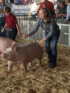 "My daughter and her Chester White gilt ""Mabel"" at the County Fair. Chester White, White Pig, County Fair, Pigs, To My Daughter, Champion, Animals, Animales, Animaux"
