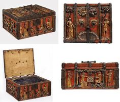 Europe (western, made) 1350-1375 (made) Oak, carved and painted, with metal mounts and textile/paper lining