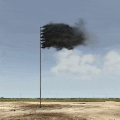 Trails of smoke form a black flag in this video, created by artist John Gerrard to highlight the threat posed by increasing levels of carbon dioxide