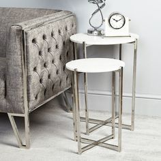 Vivienne Marble Top Set of 2 Nesting Tables With Stainless Steel Frame Marble Top, White Marble, Mirror Dining Table, Metal Nesting Tables, Small Accent Tables, Stainless Steel Furniture, Marble Effect, Vivienne, Steel Frame