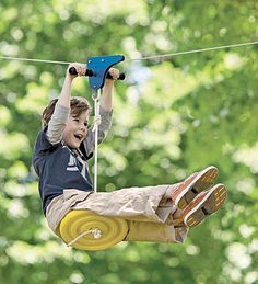Kids' ziplines are really a blast! Our ziplines for kids are perfect for backyard fun. Ziplines hang between trees for tons of outdoor play that kids love. Backyard Swings, Backyard Playground, Backyard For Kids, Diy For Kids, Cool Kids, Backyard Zipline, Backyard Ideas, Backyard Toys, Kids Fun