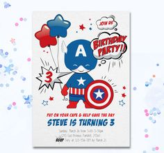 Captain America Invite Cute Captain America invitation