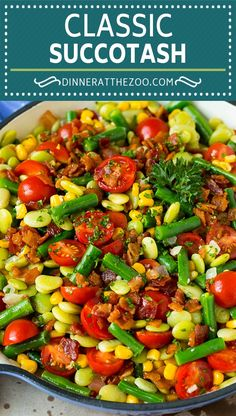 This succotash recipe is a combination of bacon, corn, tomatoes and lima beans, all cooked together to make a colorful and delicious side dish. Succotash pairs perfectly with grilled meats and seafood, and can even be served as a lighter main course option.