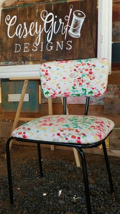 Little industrial chair with a splash of color. I love the small upholstery jobs! ~CaseyGirl