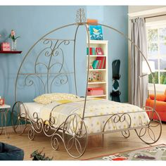 Romantic and inspiring, this princess carriage bed is the finishing touch to any royal bedroom and offers grandiose inspiration for dreamers. The twin bed features a carriage style metal framework that swirls and twirls in beautiful champagne coloring.