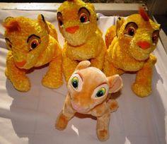 LOT OF 4 LION KING YOUNG SIMBA NALA CUB TOY PLUSH STUFFED ANIMAL VINTAGE   #Disney