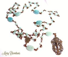 Angels of the Lord Amazonite and Bronze Rosary by MaryDevotions on Etsy