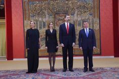 King Felipe VI of Spain and Queen Letizia of Spain attends the official reception of a dinner to Colombian President Juan Manuel Santos and his wife Maria Clemencia Rodriguez held at El Pardo Palace in Madrid, Spain, 03 March 2015. (This is the last day of Santos' visit to Spain)