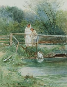 Crossing the Bridge ~ Carlton Alfred Smith ~ (English: 1853-1946)