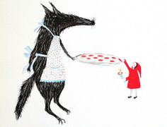 Little Red Riding Hood and gentle woolf Attenti al lupo Cappuccetto rosso illustration art by Hazel Terry artist