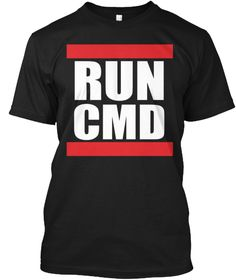 Run Cmd Black T-Shirt Front