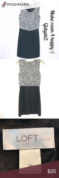 LOFT black & cream sleeveless pencil dress Size 2P