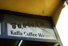 Tomoca Kaffa Coffee House, Addis Ababa, Ethiopia.     Our favorite after-class haunt. Always crowded and noisy, and it smelled wonderful!