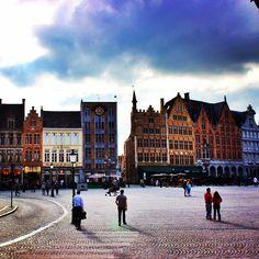 Brugge Market Square skyline.