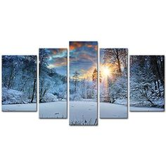 Snowy Forest at Sunset Canvas Giclee Printed Wall Art Home Decor Photo Framed US #KandN #Modernism