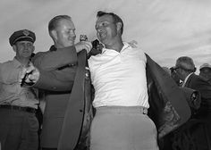 The careers of Palmer and his top rival, Jack Nicklaus, were heavily intertwined. In 1964, it was Nicklaus who presented Palmer with his third green jacket for winning the Masters.