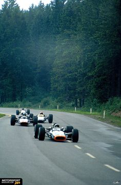 Pedro Rodriguez - BRM P133 - leads 3 others at the 1968 Belgian Grand Prix.