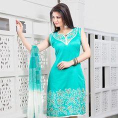 Light Blue Chanderi Art Silk Churidar Kameez