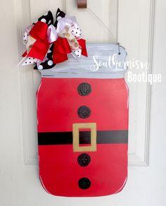 Wooden Door Hanger, Christmas Wooden Door Hanger, Mason Jar Wooden Door Hanger, Santa Belt Welcome, Merry Christmas, Christmas Wreath by SouthernismBoutique on Etsy https://www.etsy.com/listing/487579181/wooden-door-hanger-christmas-wooden-door