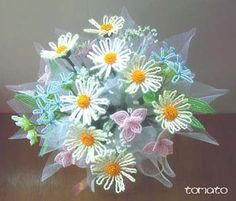 French Beaded Wedding Bouquet---give me more beaded flowers for fuller look!!