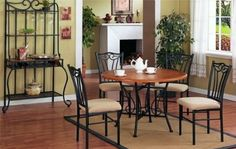 5pc Dining Room Round Table & Chair Set - if space not a concern, i definitely want to own this as it comes with simple design and big enough to serve guests