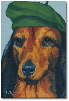 RKIves Original Oil Painting: Dogs Wearing Hats - Dachshund - Artist Beret - Hat #Realism