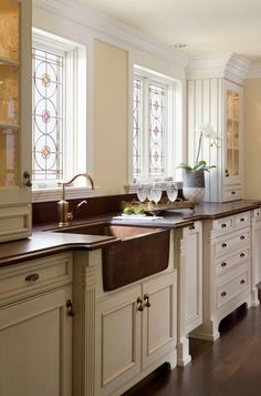 THIS IS IT - THIS IS WHAT I NEED IN MY KITCHEN (SAME LAYOUT) farm house sink with copper faucet would be perfect