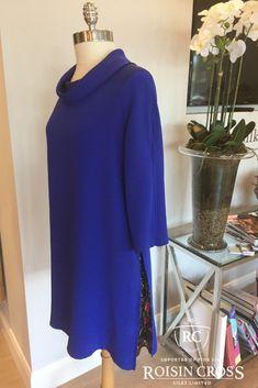 Blue Silk Crepe Day Dress made at Roisin Cross Silks Dublin Day Dresses, Summer Dresses, Dress Making Patterns, Silk Crepe, Ladies Day, Dressmaking, Dublin, High Neck Dress, Vogue