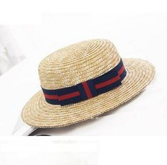 British bow boater hat for teenage girls UV protection straw sun hats c4e21d299039