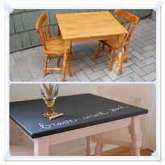 Antes y después: Mesa pizarra para niños