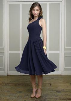 Navy bridesmaid dress idea... such a cute dress, and I think that I like the non-floor length dress idea