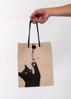 Who doesn't like a cute kitty cat bag packaging : ) Cat Crafts, Sewing Crafts, Sewing Projects, Bag Packaging, Packaging Design, Shopping Bag Design, Paper Bag Design, Sacs Design, Cat Bag