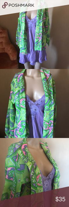 ⭐️💕⭐️VINTAGE 1970 blouses⭐️💕⭐️RARE 💕⭐️💕VINTAGE💕⭐️💕 1970 blouse , lime green pink , purple , fits size medium!!! Very rare!!!!!!! Comes with bra top, , I also paired it with a pale purple Victoria secret gown, looks cute with denim shorts underneath... or even a to cover up a bathing suit!! There are no rules when it comes to fashion 💕⭐️ Tops Blouses