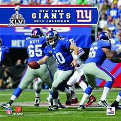 New York Giants Wall Calendar: Specially designed for the die-hard New York Giants fan, Turner Licensing presents the ultimate 2013 NFL wall calendar! Your favorite players are displayed in vivid action-packed images along with player bios, team trivia and noteworthy NFL historical dates every month.  http://www.calendars.com/New-York-Giants/New-York-Giants-2013-Wall-Calendar/prod201300001258/?categoryId=cat00501=cat00501#alliwantforchristmas