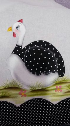 Prato Wool Applique, Applique Patterns, Applique Quilts, Quilt Patterns, Chicken Painting, Chicken Art, Tole Painting, Fabric Painting, Ceramic Flower Pots