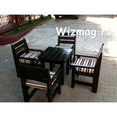 Masa si fotolii din lemn Wenghe Outdoor Chairs, Outdoor Furniture Sets, Outdoor Decor, Rustic, Garden, Home Decor, Sun, Atelier, Country Primitive