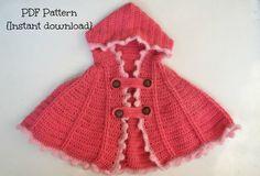 Crochet cape pattern, crochet hoodie, crochet hooded cape pattern, one size - 6 months to 2 years, pattern no. 111