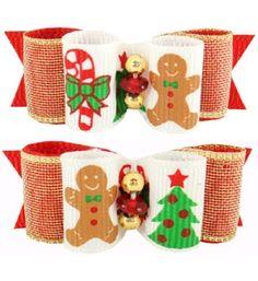 Christmas Themed Dog Hair Bows