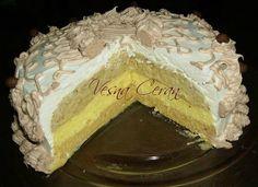 Potrebno: 1 litar mleka, 4 pudinga od vanile, 100gr šećera skuvati u mleku. U ohladjeno dodati izmiksovano 150 grama margarina i 100grama šećera u prahu. Celu smesu podeliti na tri dela, u prvi deo dodati 100 grama mlevenog plazma keksa i staviti na dno, na to dodati deo u koje Cake Recipes, Dessert Recipes, Desserts, Brze Torte, Torte Recepti, Torte Cake, Baking, Food, Cakes