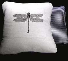 Black Dragonfly Decorative Pillow Cotton Canvas Throw Pillow. $40.00, via Etsy.