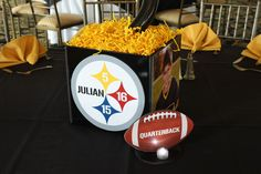 Our photo cube centerpieces were created to incorporate personal elements to your event. Sports Themed Birthday Party, Football Birthday, 50th Birthday Party, Birthday Ideas, Bar Mitzvah Centerpieces, Photo Cubes, Balloon Decorations, Clipart, Event Decor