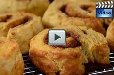 These Cinnamon Roll Scones have a bread like texture and a taste similar to a yeast Cinnamon Roll. From Joyofbaking.com With Demo Video